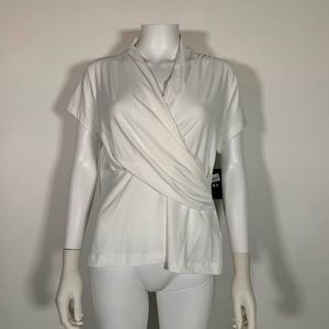 DKNY Top Blouse White Crossed Front Sz M